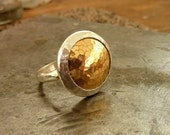 Gold silver ring, Gold cocktail ring, Gold and silver dome ring,  statement ring, two tone ring, round gold ring