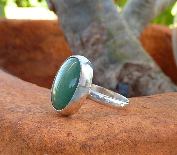 Aventurine ring, Gemstone ring, Cocktail ring, Sterling Silver Green Aventurine ring