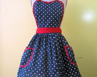 retro Apron in black polka dots with red trim Womens Retro full APRON vintage style flirty gift apron