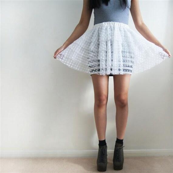 ICE - Made-to-order White Spot Tulle Mini Skirt