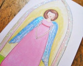 Angel - Set of 4 Notecards - Made with Recycled Paper - Angel Illustration by Giulia Mauri
