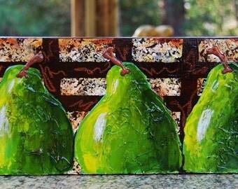 Studio Sale -- Trio of Textured Green Pears original painting 6x12