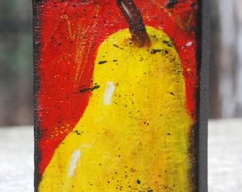 Little Pear original painting 4x6