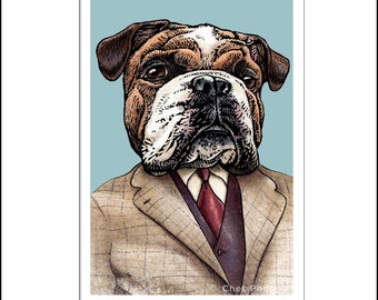 "Ernest Hemingstray- 8"" x 10"" Art Print Portrait of Ernest Hemingway as a Bulldog"