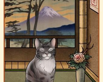 Grey Tabby Japanese Styled Print