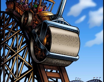 "Steam Roller Coaster 8"" x 10"" Whimsical Roller Coaster Art Print"