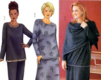 Butterick 6719 Designer Womens Top, Skirt, Pants and Wrap by Delta Burke Size 22W 24W 26W Uncut Sewing Pattern 2000