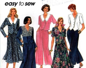 Simplicity 8480 Wide Legged Pant and Skirt with Collar Vest Top Size 10 12 14 16 Uncut Sewing Pattern 1993 1990s