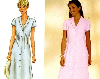 CLEARANCE SALE Butterick 6457 Easy A Line Dress with Button Front Size 6 8 10 UNCUT Sewing Pattern 1999