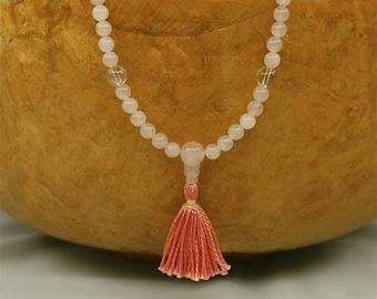 6mm Rose Quartz Mala Necklace w Rhodonite - Yoga Prayer Beads - Immeasurable Love & Compassion