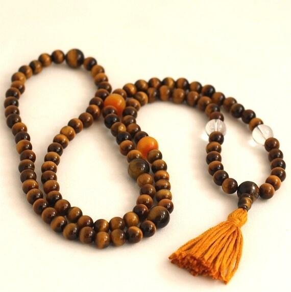 Tigereye Mala Beads w Quartz and Copal Amber Tibetan Buddhist Prayer Beads