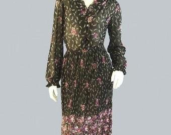 Vintage Sheer NEW ROMANTIC Ruffled Boho Dress M
