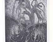 Woodcut Original Art Wood Engraving Print Hydrophyte Figures Willow Water Loving Tree of Life