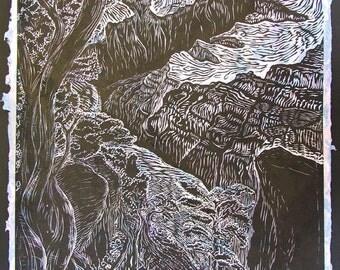 Original woodblock print wall art Grand Canyon South Rim Southwest landscape large woodcut print