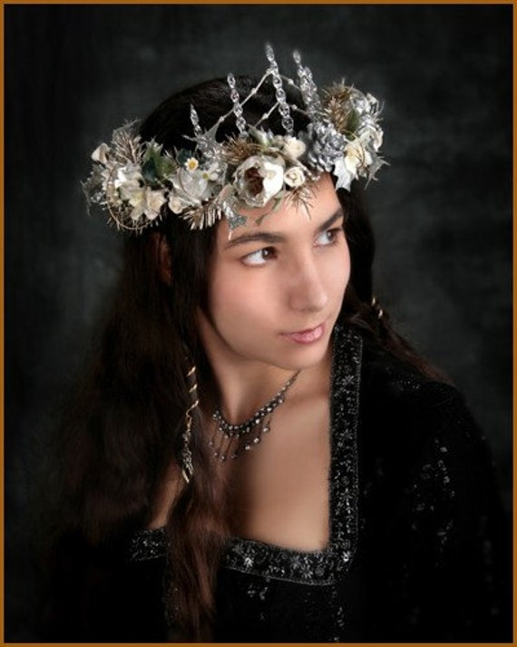 Silvery Icicle Fantasy Elfin Headdress Crown