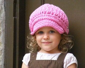 Toddler Girl Newsboy Cap 1T to 2T Toddler Girl Hat Pink Newsboy Hat Toddler Newsboy Crochet Newsboy Pink Toddler Hat Toddler Girl Clothes