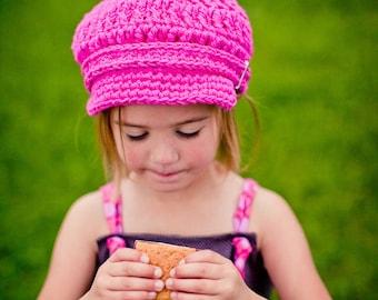 Baby Newsboy Cap 9 to 12 Month Baby Girl Newsboy Hat Baby Girl Hat Hot Pink Baby Hat Baby Girl Clothes Pink Newsboy Cap Crochet Newsboy