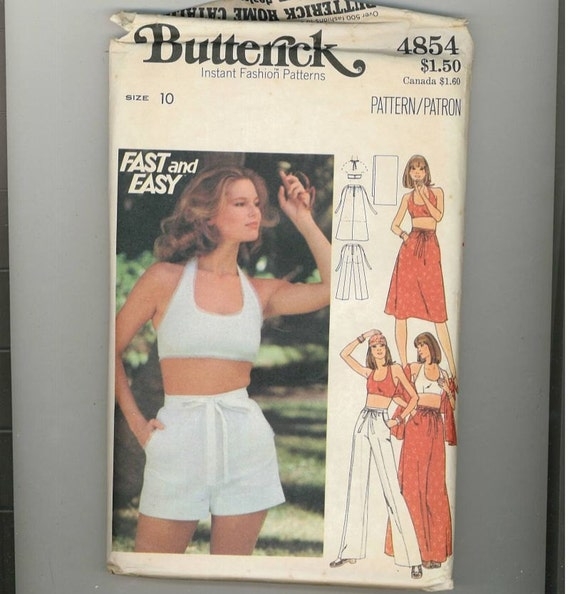 1970s Vintage Sewing Pattern Crop Halter Top Skirt Pants Shorts Butterick 4854 Size 10 Bust 32 1/2 70s