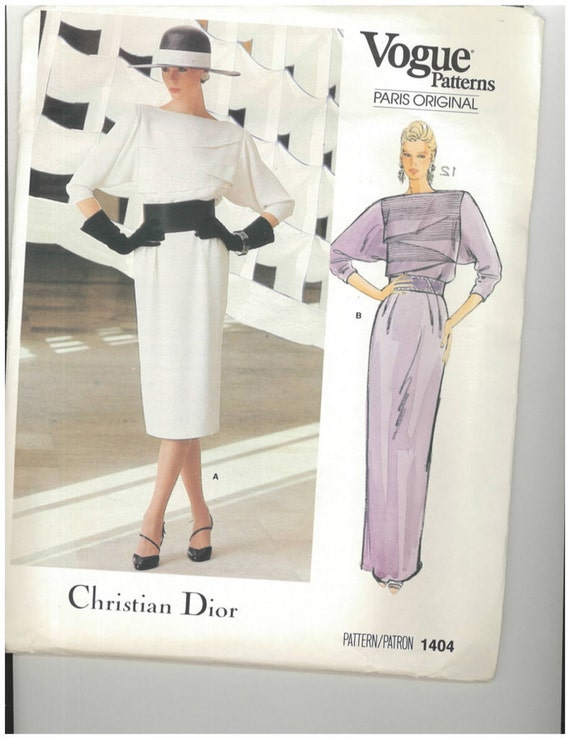 1980s Vintage Sewing Pattern Christian Dior Vogue 1404 Paris Original Evening Dress Size 12 Bust 34 UNCUT
