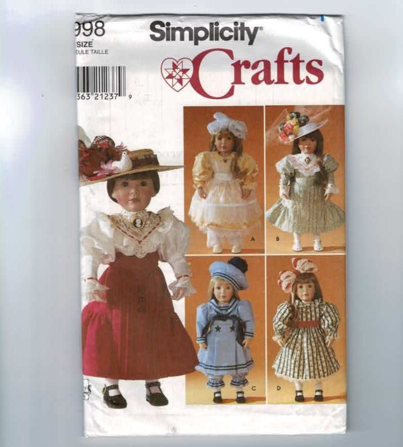 Doll Sewing Pattern Simplicity 7998 American Girl Size 18 Inch