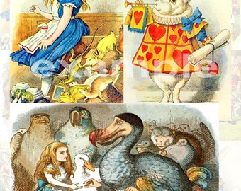 Vintage Tenniel Alice In Wonderland Digital Collage Sheet 1