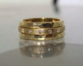 RESERVED for Ed: Hefty 22K Diamond Eternity 3-Ring Stack Stacking or Wedding Band Set