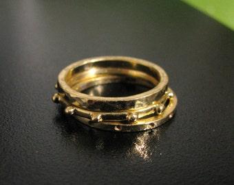 18K Gold 3-Band Ball Ring Stack Stacking Set or Thumb Rings Handmade