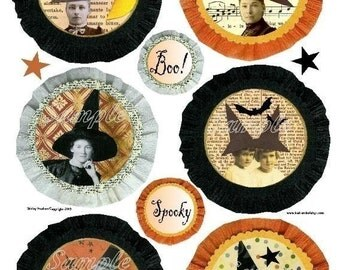 Old WITCH badges HALLOWEEN Collage Sheet - PDF Print saying collage art vintage photos sayings scrapbooking primitive digital