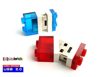 8GB to 16GB USB Flash Drive in original Lego® 1x2 Plate with Led