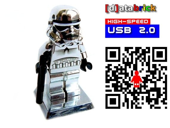 64GB USB 2.0 Drive in a complete limited Chrome Lego® Figure with showcase