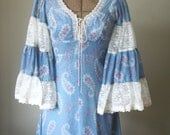 70s Gunne Sax long blue Dress with Lace Up Bodice