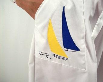 Vintage Sailorette Skirt Wrap Style, 60's/70's Nautical -Size Small-Sailboat, Oversized Pockets, Wrap Around Skirt, Retro