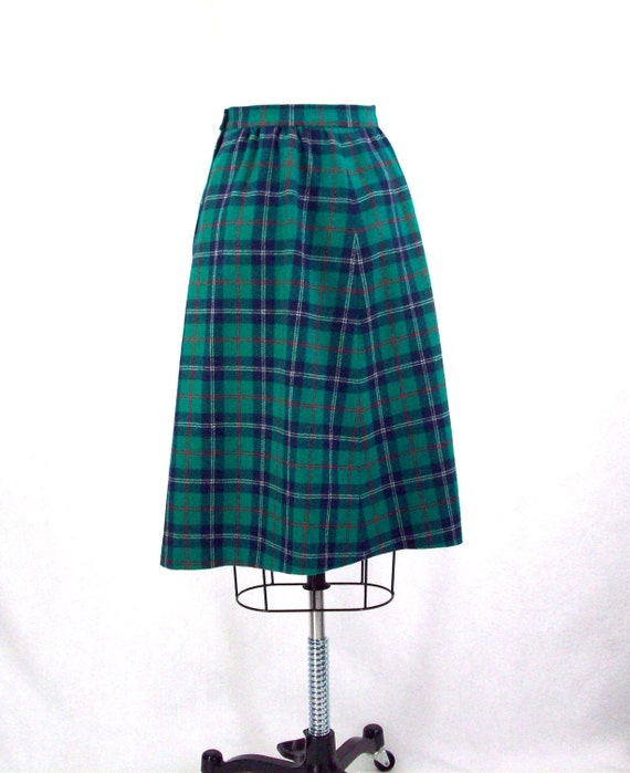 vintage plaid skirt blue green and wool tartan plaid