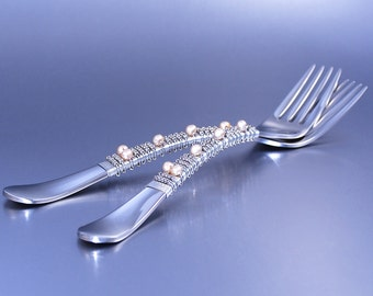 Mr And Mrs Wedding Cake Forks, Vintage Look, 24 Carat White Gold Plated Beads, Champagne Fresh Water Pearls, COUTURE Wedding TABLE SETTINGS