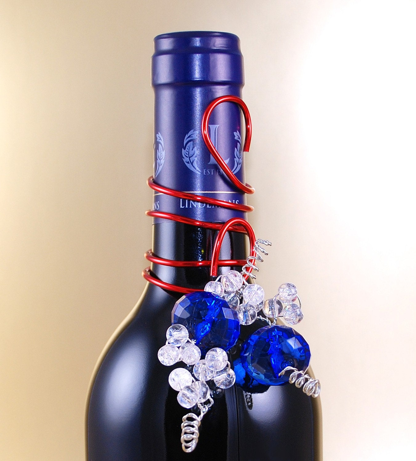 Wine bottle decorations red white blue party favor cheese for Wine bottle decorations handmade