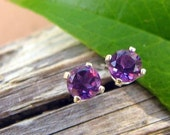 Amethyst Earrings in Gold, Silver, Platinum, or Palladium with Genuine Gems, 4mm - Free Gift Wrapping