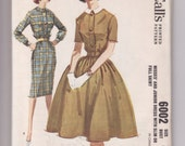 Vintage Sewing Pattern McCall's 6002 Dress Misses Button Front 1960's 32 Bust - Free Pattern Grading E-book Included