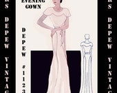 Vintage Sewing Pattern 1930's Evening or Wedding Gown in Any Size- PLUS Size Included- Depew 1123 -INSTANT DOWNLOAD-