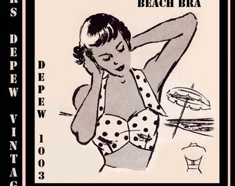 Vintage Sewing Pattern 1950's Beach Bra Halter Top Multi Size Depew 1003 -INSTANT DOWNLOAD-