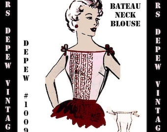 Vintage Sewing Pattern Ladies 1950's Boat Neck Tank Top Blouse PDF Print at Home Pattern Depew 1009 -INSTANT DOWNLOAD-