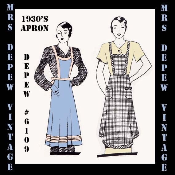Vintage Aprons, Retro Aprons, Old Fashioned Aprons & Patterns 1930s Ladies House Apron in Any Size- PLUS Size Included- Depew 6109 -INSTANT DOWNLOAD- $7.50 AT vintagedancer.com