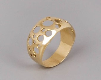 Gold Circles Ring, Gold Statement Ring, Bubbles Ring, Fine Ring, Modern ring, Edgy Ring, Geometric Ring, Minimlist Ring, Rose Gold, Silver