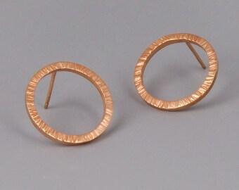 Rose Gold Stud Earrings, Circle Earrings, Rose Gold Circle Studs, Karma Earring, Minimalist Earrings, Open Circle Stud Earrings, Dainty Stud
