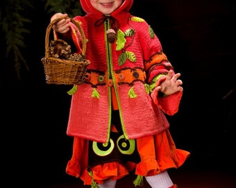 KNIT PATTERN Whimsical Forest. Peek-A-Boo Hand Knitted Coat with Crochet details. Pattern in PDF for sizes 2-12 years