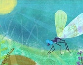 Blue Dragonfly Art Print 11x14
