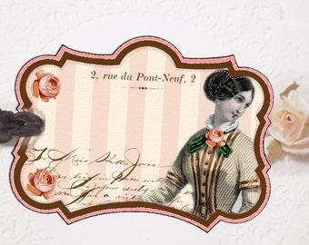 Pink Paris Gift Tags, Vintage Fashion Tag,  Romantic Paris Gift Tags, French Paris Pink Rose Pink Stripe, Bridesmaid Gift, Wedding Shower