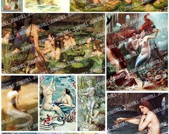 ENCHANTED MERMAIDS - Digital Printable Collage Sheet - Victorian & Renaissance Paintings of Mermaids and Water Fairies, Instant Download