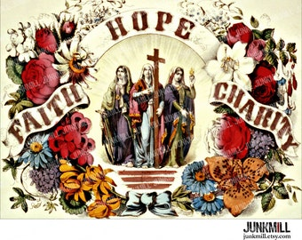 TRINITY - Digital Printable Image - Victorian Lithograph Print with Faith, Hope & Virgin Mary for Transfers, Wall Art, Instant Download
