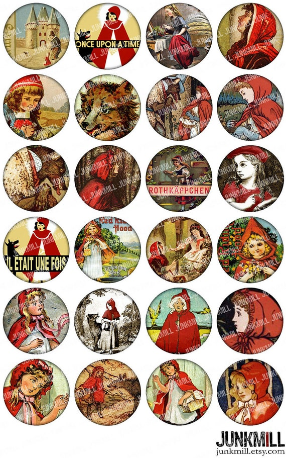 """RED RIDING HOOD - Digital Printable Collage Sheet - Vintage Brothers Grimm Fairy Tale Illustrations, Little Red Cap, 1"""" Circles, 25 mm Round"""