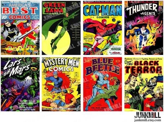 Comic Book Cover Collage : Superhero digital printable collage sheet retro comic book